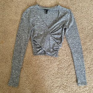 sweater crop top w a cut out for the chest area